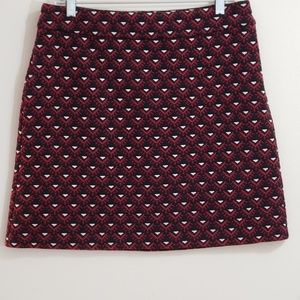 Ann Taylor Tribal Motif Skirt, Black/Wine, Sz 8